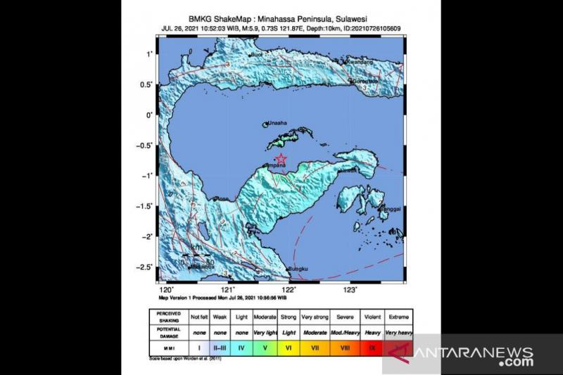 Gempa 5,2M Bolaemo akibat subduksi Lempeng Laut Sulawesi