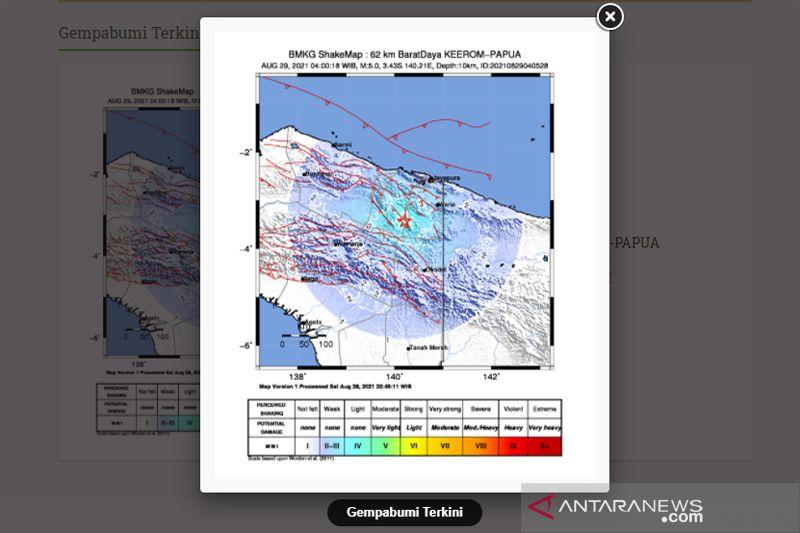Gempa bumi 5,0 magnitudo guncang Keerom di Papua