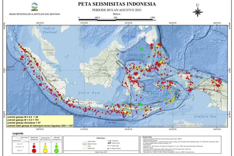 BMKG: Selama Agustus 2021 terjadi 807 kali gempa tektonik