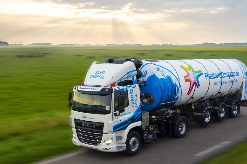 FrieslandCampina Sustainability Innovation First Hydrogen Powered Milk Truck Into Use