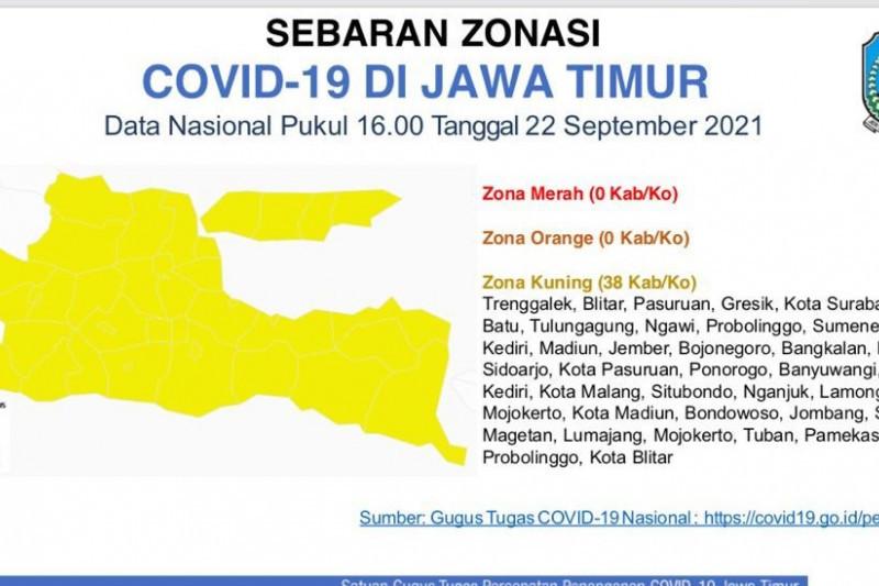 Pemprov Jatim umumkan 38 kabupaten/kota masuk zona kuning COVID-19
