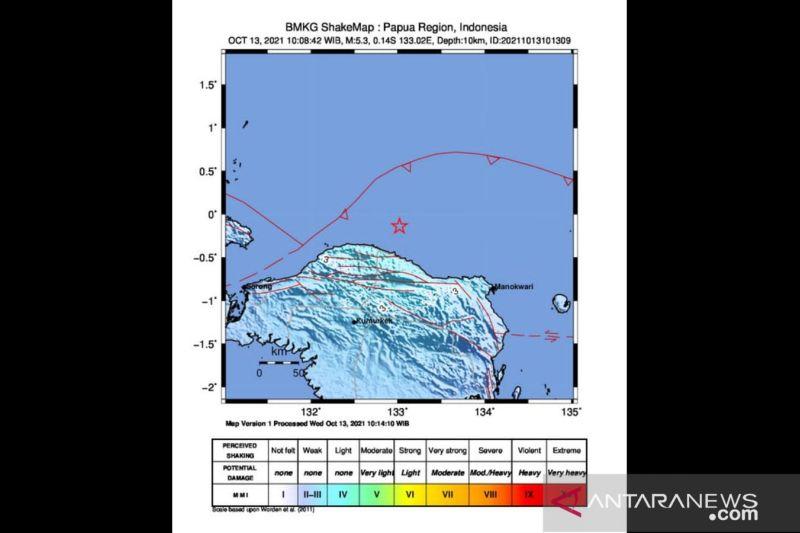 Gempa Magnitudo 5,3 guncang Tambrauw, Papua Barat thumbnail