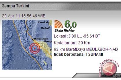 Gempa di Meulaboh 6,0 Skala Richter
