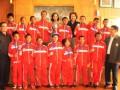 Brand Director Danone AQUA Feby Intan (empat kanan atas) bersama Marketing Manager Danone AQUA Intan Ayu Kartika (lima kiri atas), Asisten Deputi Bidang IPTEK Olahraga Kemenpora Agus Mahendra (kanan bawah), Communication Director Danone AQUA Troy Pantouw (kiri bawah) dan Pelatih serta tim SSB Hasanuddin dari Makassar yang telah mewakili Indonesia pada final dunia Danone Nations Cup (DNC) 2011 saat acara apresiasi kepada tim tersebut di Jakarta, Rabu (12/10). Sukses membawa perwakilan Indonesia pada Final Dunia DNC 2011, Danone AQUA tengah bersiap kembali untuk menyelenggarakan festival sepakbola anak-anak usia 10-12 tahun untuk Final Dunia DNC 2012 di Jepang. (FOTO ANTARA/Maman)