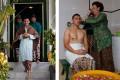 Calon pengantin pria KPH Yudanegara usai mengikuti prosesi siraman di Bangsal Kasatriyan, Kompleks Kraton Yogyakarta, Yogyakarta, Senin (17/10). (REUTERS/Beawiharta/POOL/11)