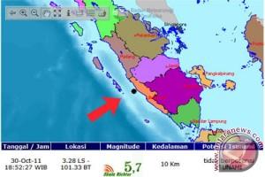Gempa 5,0 SR guncang Bengkulu selatan
