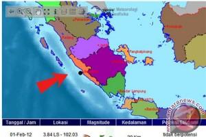 Gempa 5 SR guncang Bengkulu