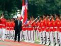 Presiden Presidium Majelis Rakyat Tertinggi Korea Utara Kim Yong Nam (kedua kiri) melakukan pemeriksaan pasukan kehormatan saat upacara kenegaraan di Istana Merdeka, Jakarta, Selasa (15/5). Kedua pemimpin bersama masing-masing delegasi melakukan pertemuan bilateral untuk meningkatkan kerjasama kedua negara. (FOTO ANTARA/Widodo S. Jusuf)