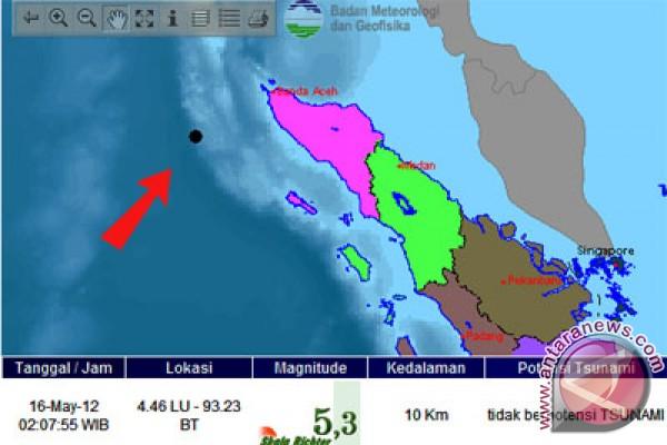 Gempa 5,7 skala Richter guncang barat daya Aceh