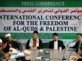 """(ka-ki) Sonny Sugema (panitia lokal), Maman Abdul Rahman (Ketum Persis Jabar) dan Yakhsyallah Mansyur (ketua Pelaksana) memberikan keterangan kepada wartawan dalam acara konferensi pers """"International Conference for The Freedom of Al-Quds and Palestine"""" di Gedung Persatuan Islam (Persis) Pusat, Bandung, Jawa Barat, Kamis (14/6). Sebagai bentuk dukungan untuk kemerdekaan Palestina, Aqsa Working Group (AWG) dan institusi pendukung lainnya akan menggelar International Conference for The Freedom of Al-Quds and Palestine. Konferensi tersebut rencananya digelar di Bandung pada 4-5 Juli mendatang dengan pembicara lebih dari 20 negara di dunia. (FOTO ANTARA/Agus Bebeng)"""