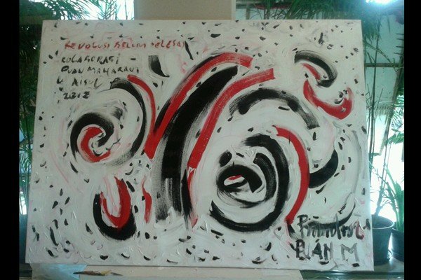 Lukisan kolaborasi Puan Maharani dan Aisul Yanto