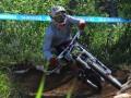 Seorang pesepeda Downhill berusaha mempercepat sepedanya pada Seeding Run Kejuaraan Shimano National Downhill UKDI series 2012 di Cikole, Lembang, Bnadung, Sabtu (30/6). Kejuaraan tersebut akan memperlombakan 14 kelas yang terbagi berdasarkan kemampuan dan usia.(ANTARA/Saptono)  Down-Hill-Cikole-300612-Spt.jpg, 2344 x 1689 px, 1.3 Mb