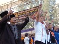 Ketua Umum DPP Partai Demokrat, Anas Urbaningrum (ketiga kiri), Pasangan Cagub dan Cawagub DKI Jakarta, Fauzi Bowo (kedua kiri), dan Nachrowi Ramli (kiri), berkampanye di lapangan terbuka di Jakarta, Sabtu(30/6). Pasangan Cagub Cawagub Fauzi Bowo-Nachrowi Ramli, menyampaikan visi misi untuk lima tahun Jakarta yang lebih baik, aman, dan nyaman di hadapan ribuan pendukungnya. (ANTARA/ Ujang Zaelani)
