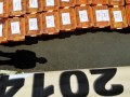 Seorang petugas menjaga kotak-kotak berisi berkas dan kelengkapan Partai Hanura saat mendaftarkan partai tersebut sebagai Partai Politik peserta Pemilihan Umum (Pemilu) 2014 di kantor Komisi Pemilihan Umum (KPU), Jakarta, Jumat (10/8). Masa pendaftaran Partai Politik peserta Pemilihan Umum (Pemilu) 2014 berlangsung hingga 7 September 2012. (FOTO ANTARA/Ismar Patrizki)
