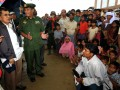 Ketua Umum PMI, Jusuf Kalla didampingi Menteri Urusan wilayah Perbatasan Myanmar Letnan Jenderal Thein Htay mengunjungi barak pengungsi etnis Rohingya di Thet Kay Pyin, Ibukota negara bagian Rakhine Sittway, Myanmar, Sabtu (11/08). Pemerintah Myanmar akan bekerjasama dengan Palang Merah Indonesia (PMI), Organisasi Konferensi Islam (OKI) dan Bulan Sabit Merah Qatar dalam proses rehabilitasi dan rekonstruksi korban konflik yang terjadi diwilayah Rhakine. (ANTARA/HO-Dokumentasi-JK)