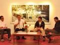 "Anggota Dewan Pengawas Kantor Berita Antara, Asro Kamal Rokan (kedua kiri) bersama dua fotografer Antarafoto, Saptono Soemardjo (kedua kanan), Prasetyo Utomo (kanan) serta moderator Zarqoni Maksum (kiri) saat temu wicara ""Reliji Dalam Imaji"" di Galeri Foto Jurnalistik Antara, Pasar Baru, Jakarta, Jumat (10/8). Acara tersebut merupakan salah satu rangkaian acara pameran dan peluncuran buku ""Makkah Photographic Diary"" karya kedua fotografer Antarafoto yang berlangsung dari 3 Agustus hingga 10 September mendatang. (ANTARA/Dian Dwi Saputra)"