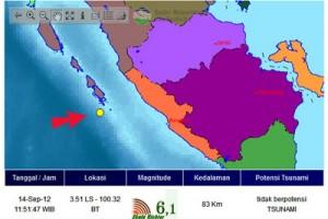BPBD: gempa di perairan Mentawai tak rusakkan bangunan