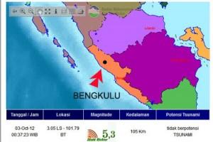 Gempa 5 SR landa Bengkulu
