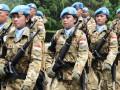 Sejumlah Prajurit TNI yang tergabung dalam Kontingen Garuda (Konga) untuk melaksanakan tugas menjaga perdamaian di Lebanon dalam misi UNIFIL (United Nations Interim Force in Lebanon) mengikuti upacara militer pada pelepasan di Mabes TNI Cilangkap Jakarta Timur, Rabu (21/11). Sebanyak 1.169 Prajurit TNI itu akan bertugas selam satu tahun di Lebanon. (FOTO ANTARA/Kadispenum Puspen TNI-Kolonel Cpl Minulyo Suprapto/HO)