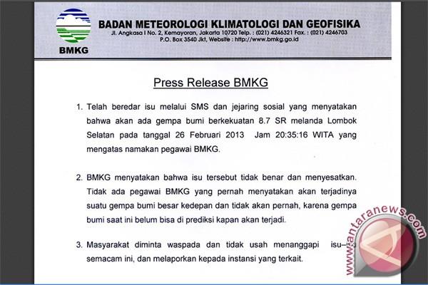 BMKG jelaskan soal isu gempa besar di Lombok