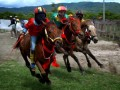 Sejumlah joki cilik memacu kudanya, saat Pacuan Kuda dengan joki cilik, di Arena Pacuan Kuda Angin Laut, Desa Penyaring, Kecamatan Moyo Utara, Sumbawa Besar NTB, Sabtu (16/3). Pacuan kuda dengan joki cilik usia di bawah 10 tahun yang digelar Telkomsel bersama pemerintah daerah setempat tersebut, merupakan salah satu tradisi yang masih bertahan di Sumbawa NTB. (FOTO ANTARA/Eric Ireng)