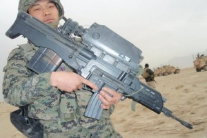 K 11 Photo document of Korean soldier with K-11 assault rifles ...