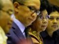 Menkes Nafsiah Mboi (kedua kanan) bersama Wakil Menkes Ali Ghufron Mukti (kanan), Wakil Menkeu Mahendra Siregar (kedua kiri) dan Ketua Dewan Jaminan Sosial Nasional (DJSN) Chazali Husni Situmorang (kiri) mengikuti rapat kerja dengan Komisi IX DPR di Gedung Parlemen, Jakarta, Rabu (10/7). Rapat tersebut membicarakan soal persiapan tentang Jaminan Kesehatan Nasional. ANTARA FOTO/Widodo S. Jusuf/ss/Spt/13.