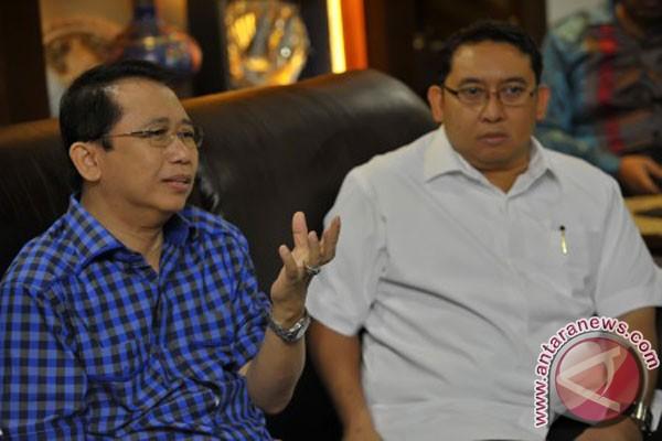 Wakil Ketua Umum DPP Partai Gerindra Fadli Zon (kanan) bertemu dengan