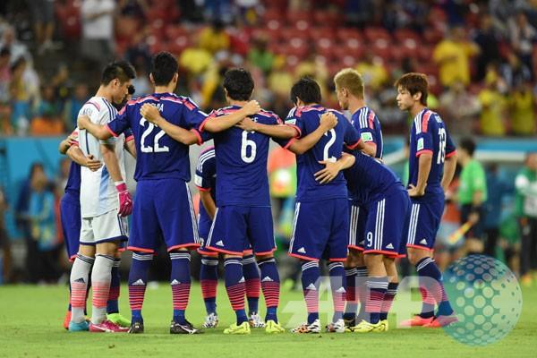 Para pemain jepang bersiap memulai pertandingan grup c piala dunia