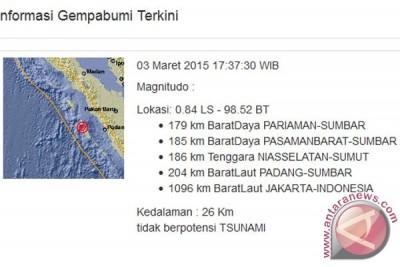 Gempa 6,0 skala Richter dekat Pariaman, Sumbar