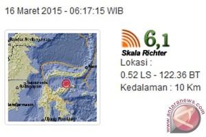 Gempa 6,1 skala Richter guncang Banggai, Sulteng