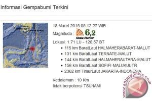 Gempa 6,2 skala Richter guncang Halmahera