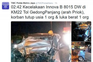 Minibus kecelakaan di Tol Gedong Panjang, seorang tewas
