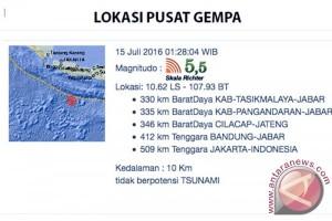 Gempa 5,5 skala Richter di baratdaya Tasikmalaya