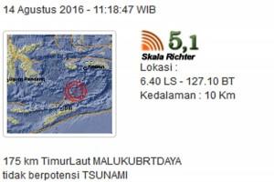 Mild earthquake jolts SW Maluku