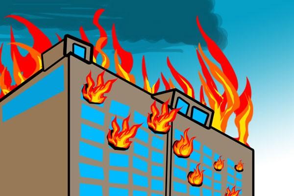 Suara sirine kebakaran gedung bertingkat en