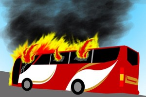 Bus terbakar di tol Kebon Jeruk