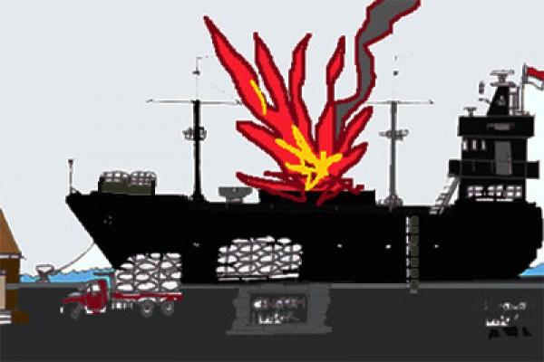 Ledakan terdengar dari sebuah kapal di lepas pantai Somalia