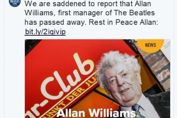 Allan Williams, Manajer Pertama The Beatles Tutup Usia
