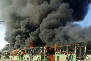 Bus pengangkut pengungsi Aleppo dibakar, gencatan senjata terancam