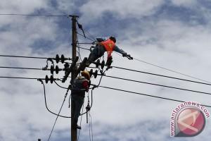 Pekerja PLN Karawang tergelantung di tiang listrik