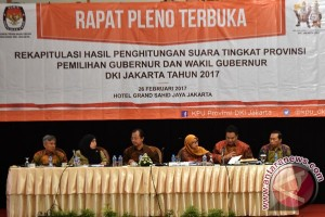KPU DKI umumkan hasil rekapitulasi penghitungan suara