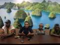 Ketua Dewan Adat Raja Ampat Kristian Thebu (kedua kiri) memberikan keterangan pers di kantor Conservation International Kota Sorong, Papua Barat, Jumat (17/3/2017). Dewan Adat Raja Ampat meminta kepada pemerintah untuk melibatkan mereka dalam perhitungan kerugian rusaknya terumbu karang oleh Kapal MV Caledonian Sky karena berdampak terhadap sosial dan perekonomian masyarakat adat, apalagi kawasan yang rusak merupakan kawasan larang tangkap yang telah diberkati secara Gereja maupun adat (sistem Sasi). (ANTARA /Olha Mulalinda)