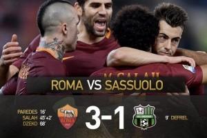 Mohamed Salah sumbang gol saat Roma tundukkan Sassuolo 3-1