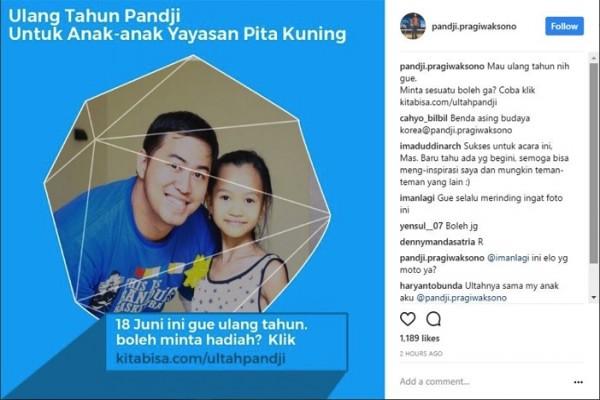 Ulang Tahun, Pandji Pragiwaksono Galang Dana Untuk Anak Penderita Kanker