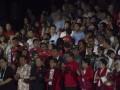 """Presiden Joko Widodo (keempat kanan) bersama (kiri kanan) Ketua Indonesia Asian Games Organizing Committee (INASGOC) Erick Tohir, Menpora Imam Nahrawi, Vice President OCA Hongkong Timothy Tsun Ting Fok, Wakil Presiden Jusuf Kalla, Ibu Negara Iriana Joko Widodo, Mantan Presiden Megawati Soekarnoputri, dan Ibu Mufidah Kalla bertepuk tangan dalam peresmian """"Countdown Asian Games 2018"""" di lapangan Monas, Jakarta, Jumat (18/8/2017). Pelaksanaan hitung mundur (countdown) pelaksanaan Asian Games 2018 Jakarta dan Palembang tepat dilakukan satu tahun atau 365 hari menjelang perhelatan olah raga terbesar se-Asia tersebut. (ANTARA/Rosa Panggabean)"""