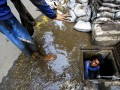 Petugas Dinas Sumber Daya Air Kota Administrasi Jakarta Pusat mengangkut lumpur dan sampah yang berada di dalam gorong-gorong di Jakarta, Jumat (13/10/2017). Pemrov DKI Jakarta melakukan pembersihan di sejumlah saluran air untuk mengantisipasi genangan air dan banjir saat hujan deras. (ANTARA /Rivan Awal Lingga)