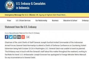 Dubes AS minta maaf penolakan atas Panglima TNI