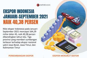 Ekspor Indonesia Januari-September 2021 naik 40,38 persen