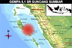 Padang Kembali Diguncang Gempa 6,1 SR